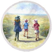Three Sisters Beach Path Round Beach Towel