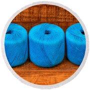 Three Skeins Of Knitting Yarn Round Beach Towel