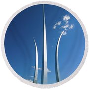 Three Soaring Spires Of Air Force Round Beach Towel
