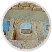 Three Stones For Grinding Corn In Spruce Tree House In Mesa Verde National Park-colorado Round Beach Towel