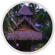 Three Story Hut 2 In Color Round Beach Towel