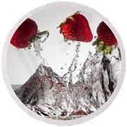 Three Strawberries Freshsplash Round Beach Towel