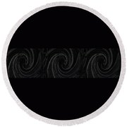 Three Swirls On Black Round Beach Towel