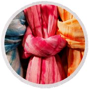 Three Tie-dye Knots Round Beach Towel