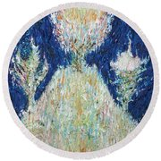 Three Trees On The Hilltop Round Beach Towel