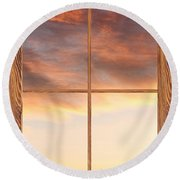 Three Trees Sunrise Barn Wood Picture Window Frame View Round Beach Towel