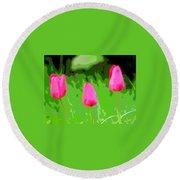Three Tulips - Painting Like Round Beach Towel