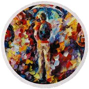 Three Umbrellas Round Beach Towel