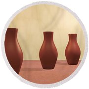 Three Vases Round Beach Towel