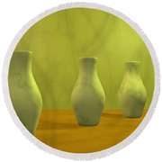 Three Vases II Round Beach Towel