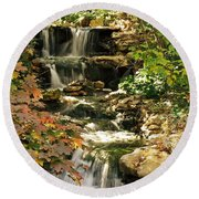 Three Water Falls Round Beach Towel