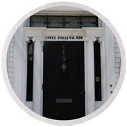 Three Whale Oil Row - Black Door - New London Round Beach Towel