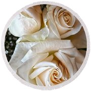 Three White Roses Round Beach Towel