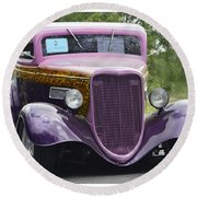 Three Window Coupe Round Beach Towel