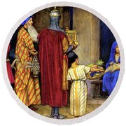 Three Wise Men Bearing Gifts Round Beach Towel