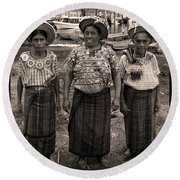 Three Women In Atitlan Round Beach Towel