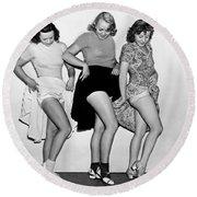 Three Women Lift Their Skirts Round Beach Towel