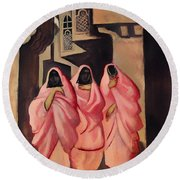 Three Women On The Street Of Baghdad Round Beach Towel