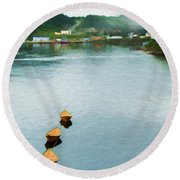 Three Yellow Boats Round Beach Towel
