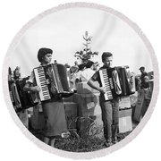 Three Young Accordion Players Round Beach Towel