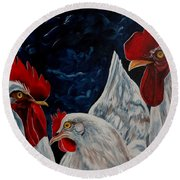 Three's A Crowd   -    Roosters -chicken Round Beach Towel