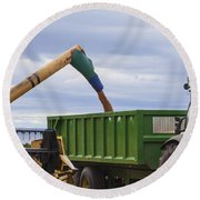 Threshing The Barley Round Beach Towel