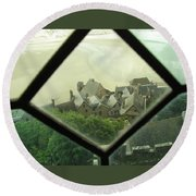 Through A Window To The Past Round Beach Towel