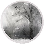 Through Glass -- A Tree In Winter Round Beach Towel