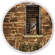 Through Doors And Windows - Abandoned House Round Beach Towel