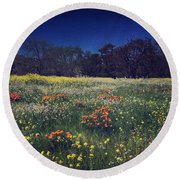 Through The Blooming Fields Round Beach Towel