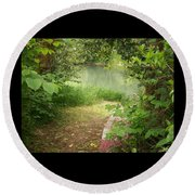 Through The Forest At Water's Edge Round Beach Towel
