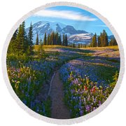 Through The Golden Meadows Round Beach Towel