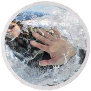 Through The Ice Round Beach Towel