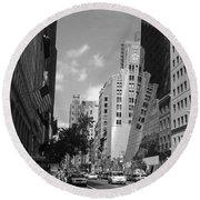 Through The Looking Glass In Black And White Round Beach Towel