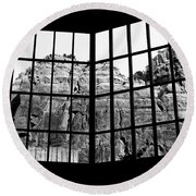 Through The Monastery Window Round Beach Towel