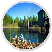 Through The Reeds At Grace Lake Round Beach Towel