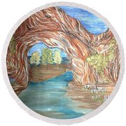 Through The Rock Window Round Beach Towel