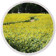 Through The Sunflowers Round Beach Towel