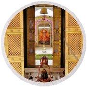 Through The Temple Doors India Round Beach Towel