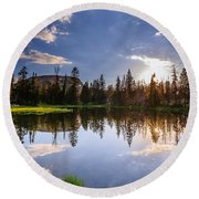 Through The Trees Round Beach Towel