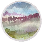Through The Trees Round Beach Towel by Linda Woods