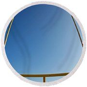 Through The Uprights Round Beach Towel