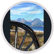 Through The Wheel Round Beach Towel
