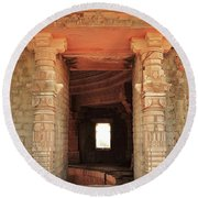 When Windows Become Art - Jain Temple - Amarkantak India Round Beach Towel