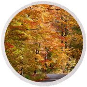 Through The Woods By D. Perry Lawrence Round Beach Towel