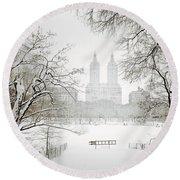 Through Winter Trees - Central Park - New York City Round Beach Towel