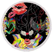 Throwing Kisses And I Love Yous Round Beach Towel