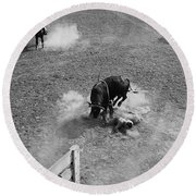 Thrown Bull Rider Rodeo Tohono O'odham Reservation Sells Arizona 1969  Round Beach Towel