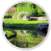 Thula Garden's Water Reflections Round Beach Towel
