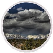 Thunder Mountains Round Beach Towel